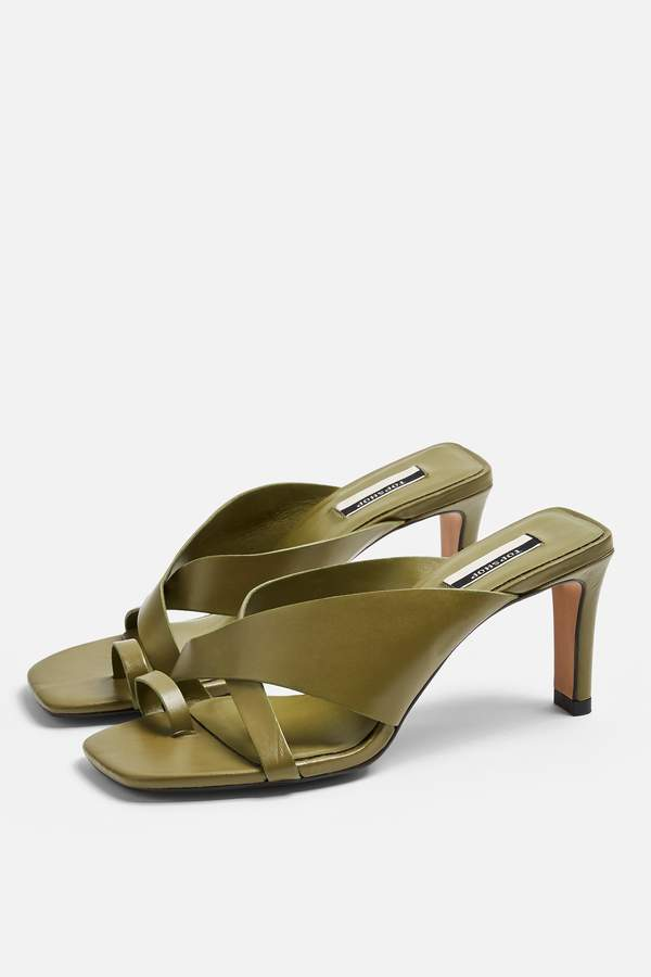 Topshop Womens Noel Leather Khaki Toe Loop Mules - Khaki