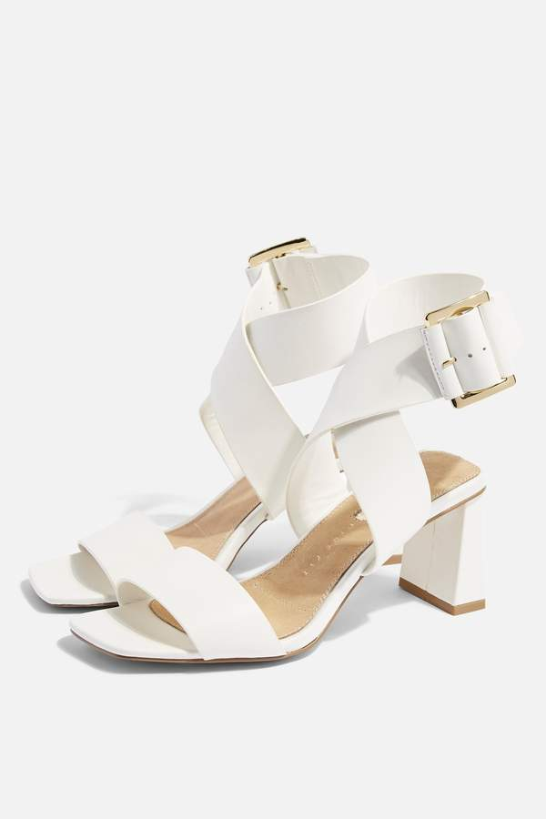 Topshop Womens **Wide Fit Natalia White Buckle Sandals - White