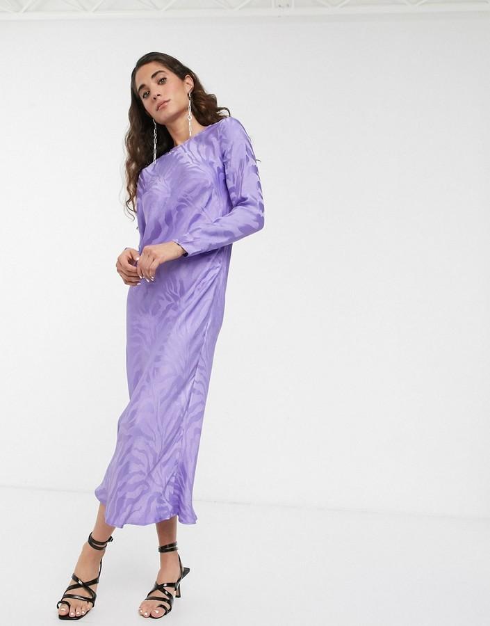 ASOS WHITE jacquard satin long sleeve maxi dress