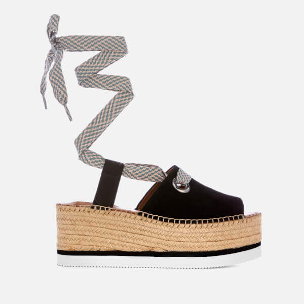 See By Chloé See By Chloe Women's Tie Up Espadrille Mid Wedge Sandals - Black