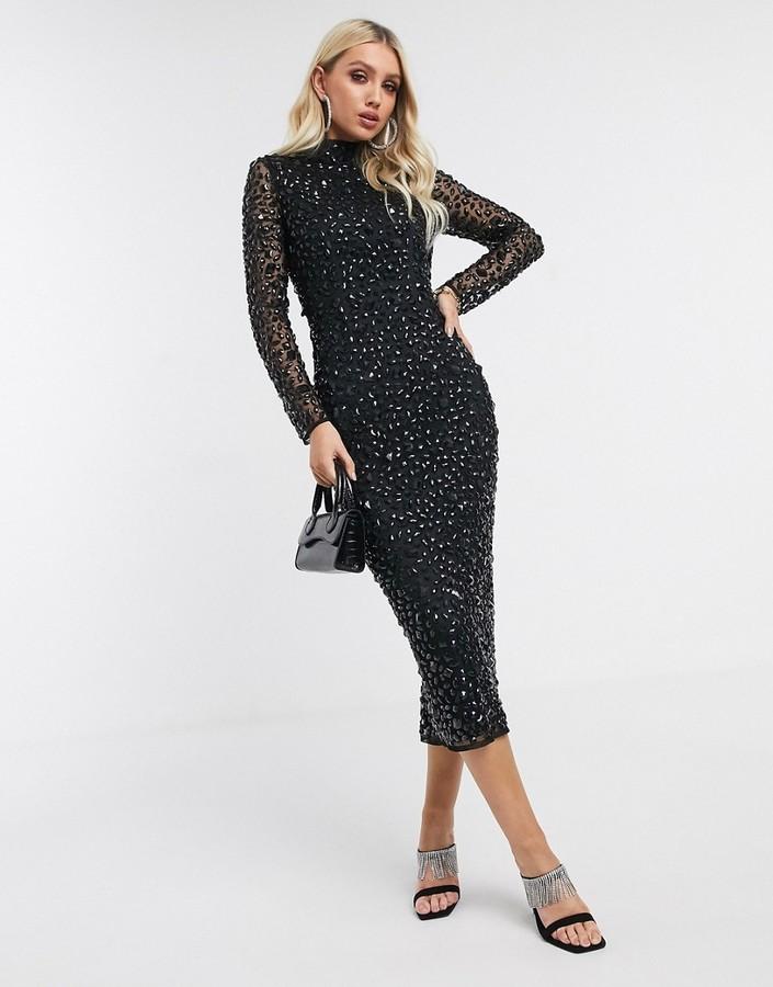 Asos Design ASOS DESIGN all over gem embellished midi dress-Black