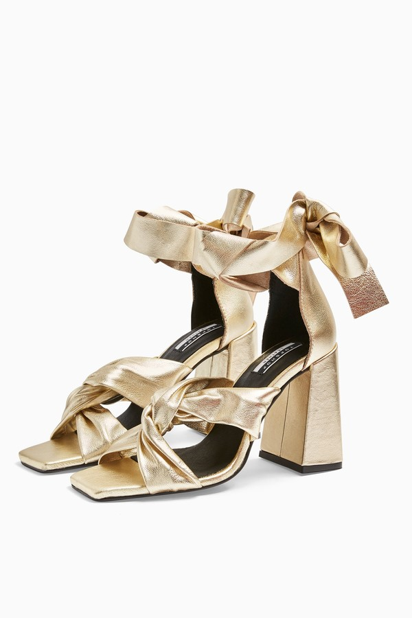 REVOLVE Leather Gold High Sandals