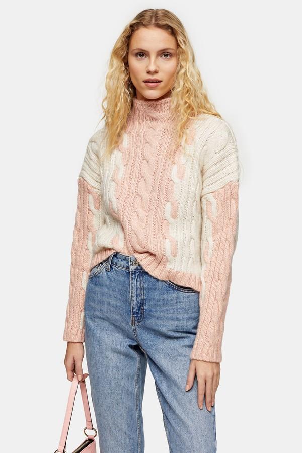 Womens Knitted Colour Block Plait Jumper - Pink