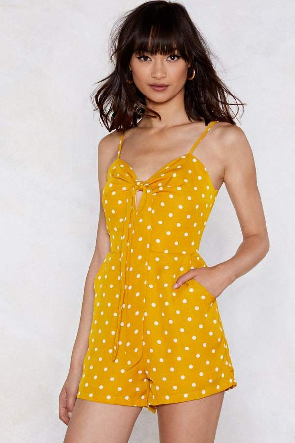 Nasty Gal Womens Dot It Down Polka Dot Playsuit - Yellow - L, Yellow