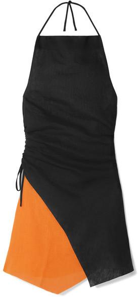 Marques' Almeida - Ruched Two-tone Linen Halterneck Mini Dress - Black