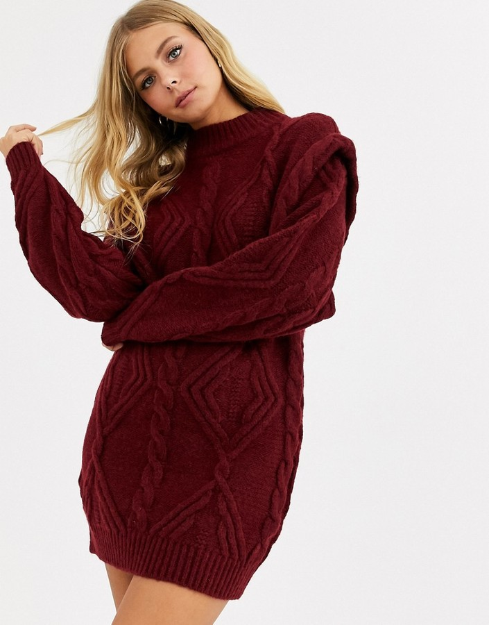 Asos Design ASOS DESIGN cable jumper dress with shoulder detail