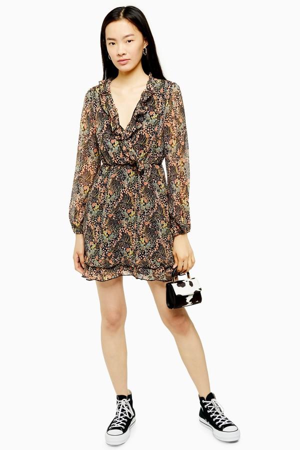 Topshop Womens Ruffle Forest Print Mini Dress - Multi