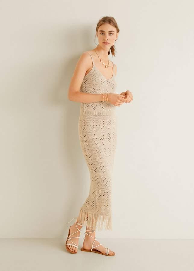 Fringed detail knitted skirt
