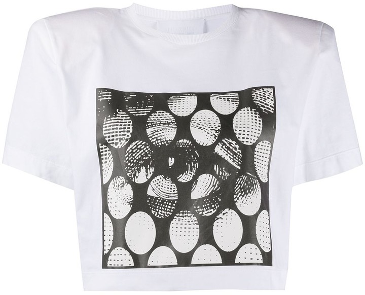 No Ka' Oi padded shoulder cropped T-shirt