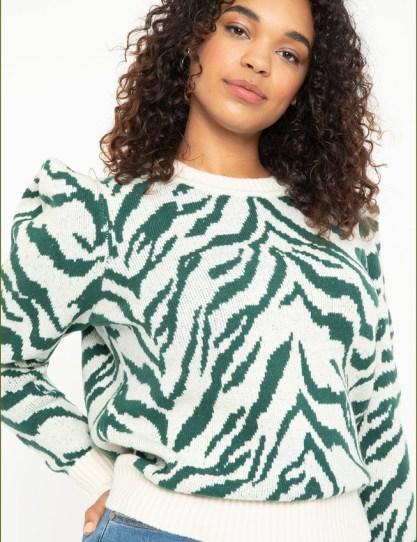 Eloquii green and white zebra print sweater