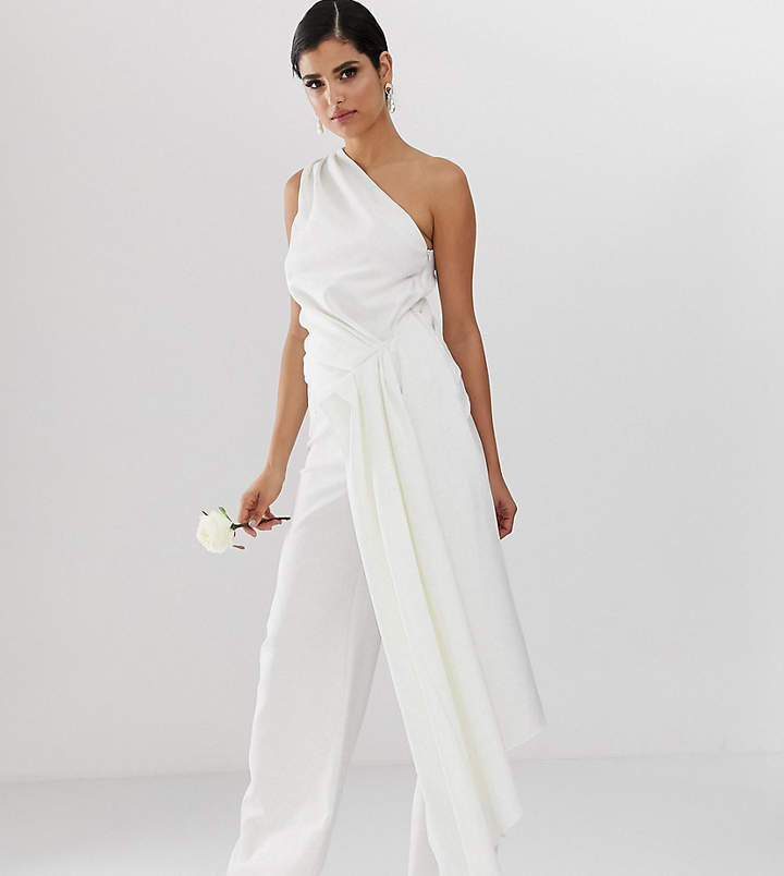 Asos Tall ASOS EDITION Tall one shoulder drape side wedding jumpsuit