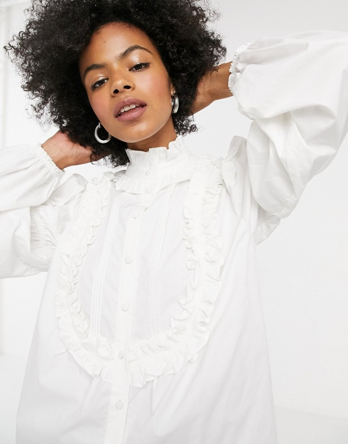 Topshop ruffle detail blouse in white