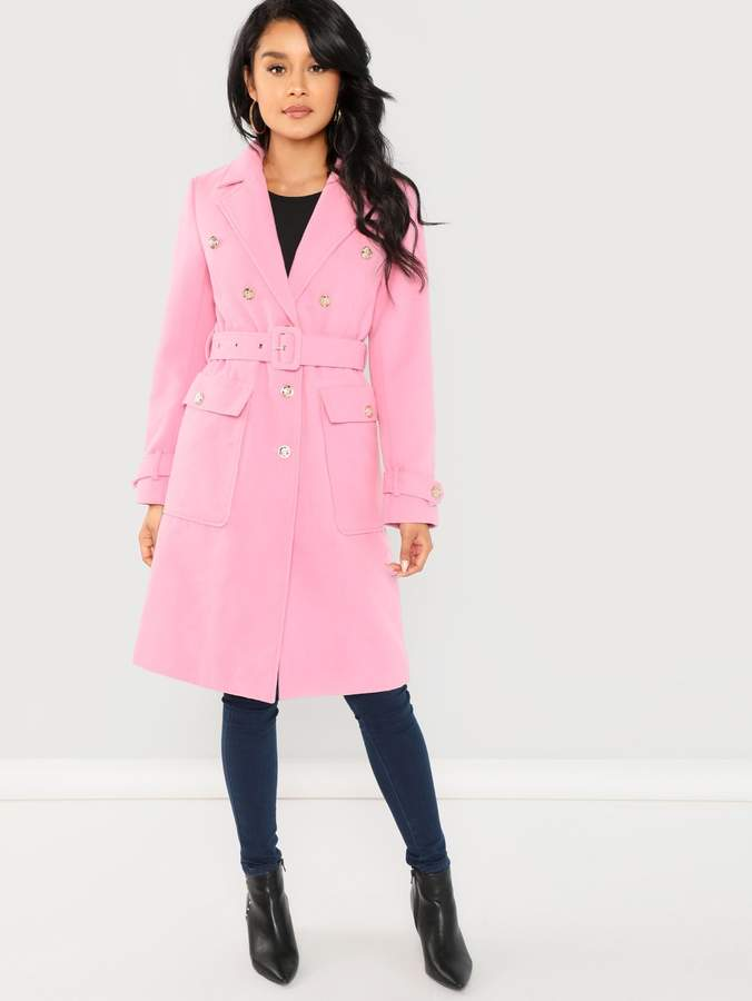 SheIn Notch Collar Self Adjustable Belted Coat