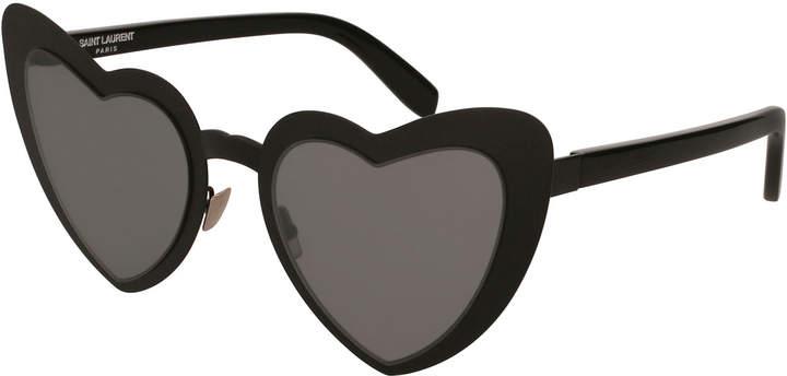 Saint Laurent Lou Lou Heart-Shaped Sunglasses, Black