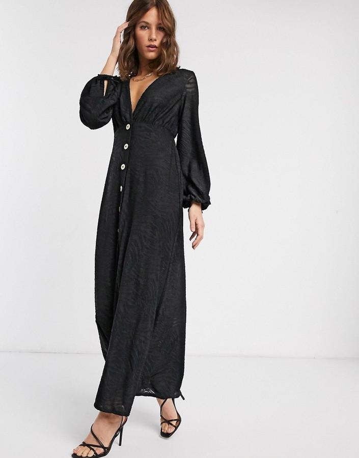ASOS DESIGN Zebra Burnout Long Sleeve Maxi Dress