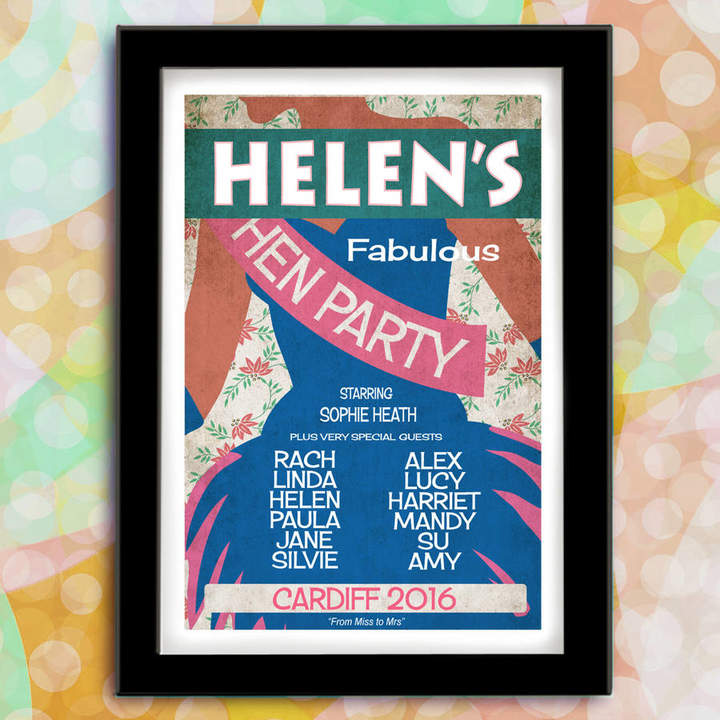 Just for You Personalised Hen Party Wedding Print