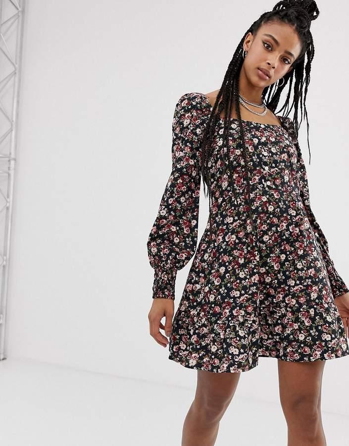 Sacred Hawk square neck boho dress in ditsy floral-Black