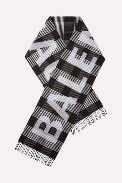 Balenciaga - Fringed Checked Intarsia Wool Scarf - Black