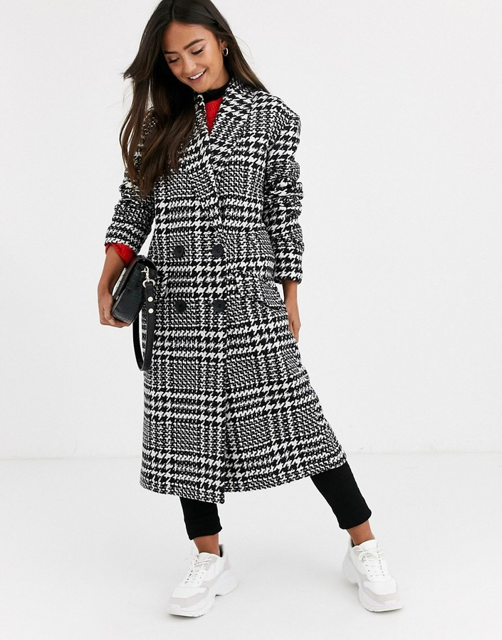 ASOS DESIGN houndstooth oversized coat