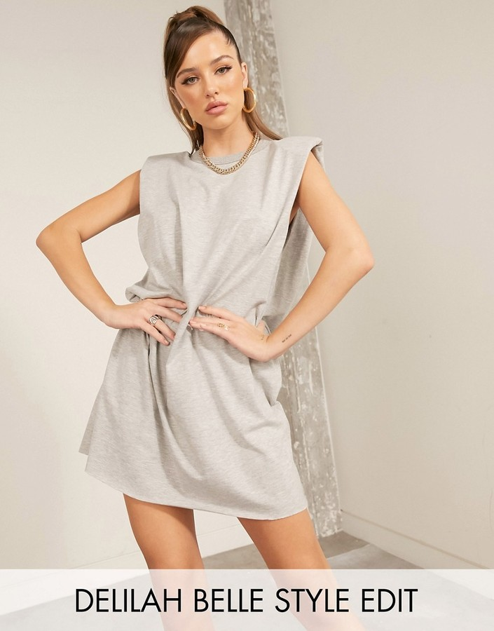 ASOS DESIGN t-shirt mini dress with padded shoulders in grey marl
