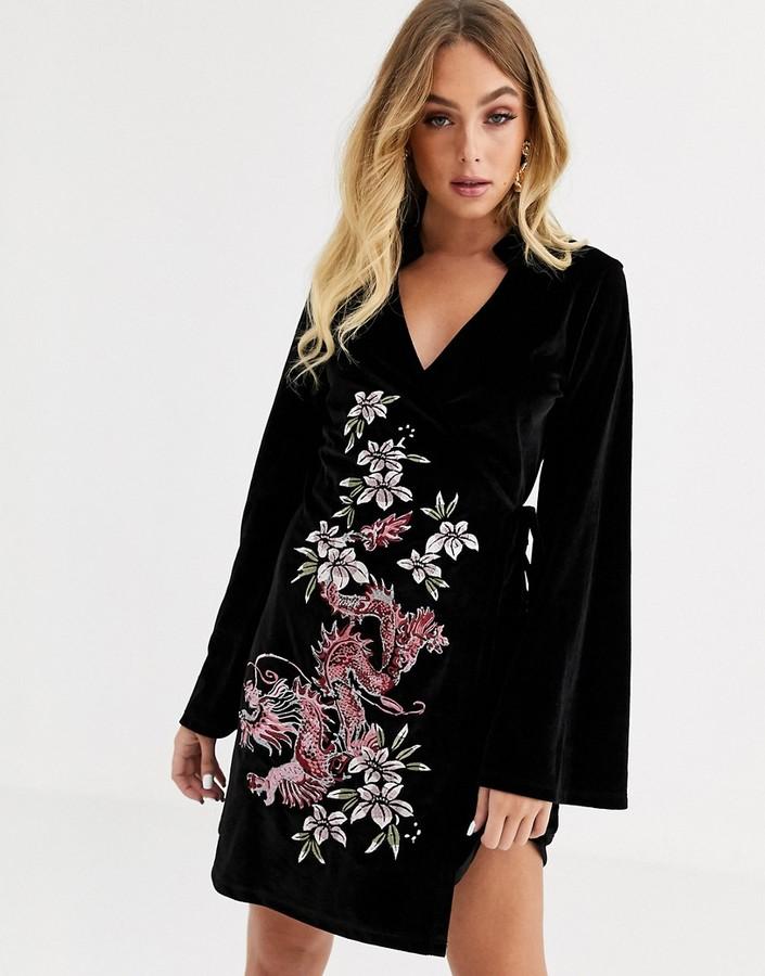 Asos Design ASOS DESIGN velvet embroidered kimono dress