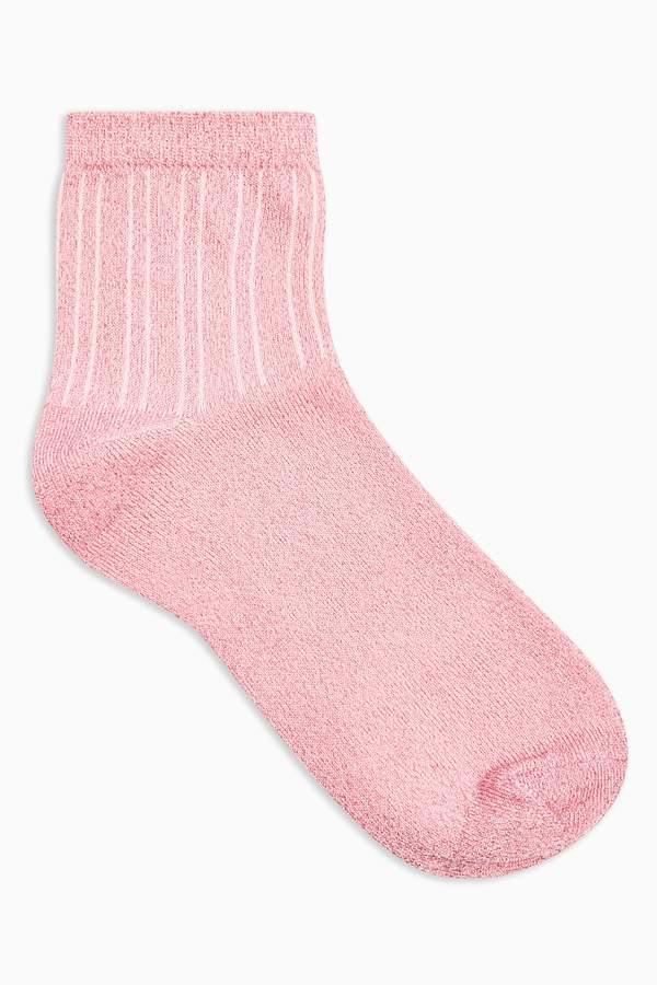 Pink Ribbed Glitter Socks
