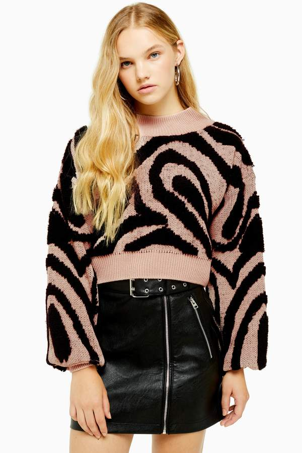 Womens Pink Knitted Wave Pattern Jumper - Pink