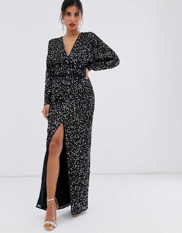 Asos Design ASOS DESIGN maxi dress with batwing sleeve and wrap waist in scatter sequin-Black