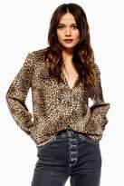 Topshop Leopard Long Sleeve Shirt