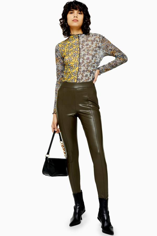 Topshop Womens Khaki Faux Leather Skinny Trousers - Khaki
