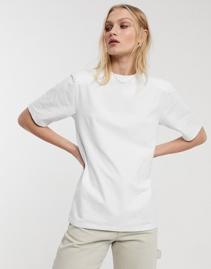 ASOS WHITE shoulder pad t-shirt
