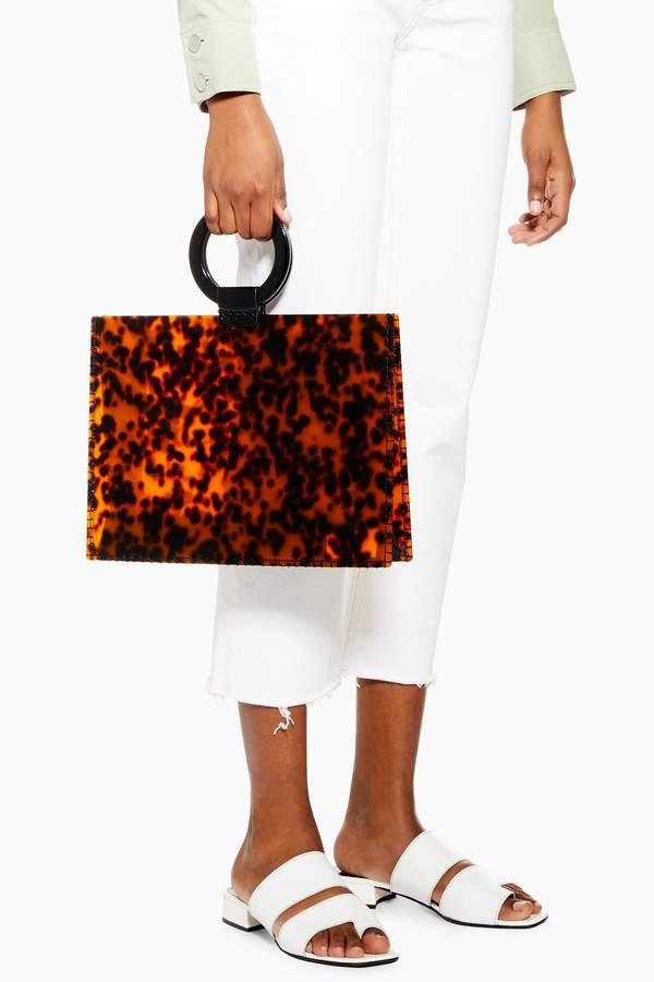 Topshop Womens Gabby Acrylic Tote Bag - Tortoise She