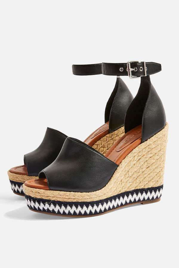 Topshop Womens Wing Wedges - Black
