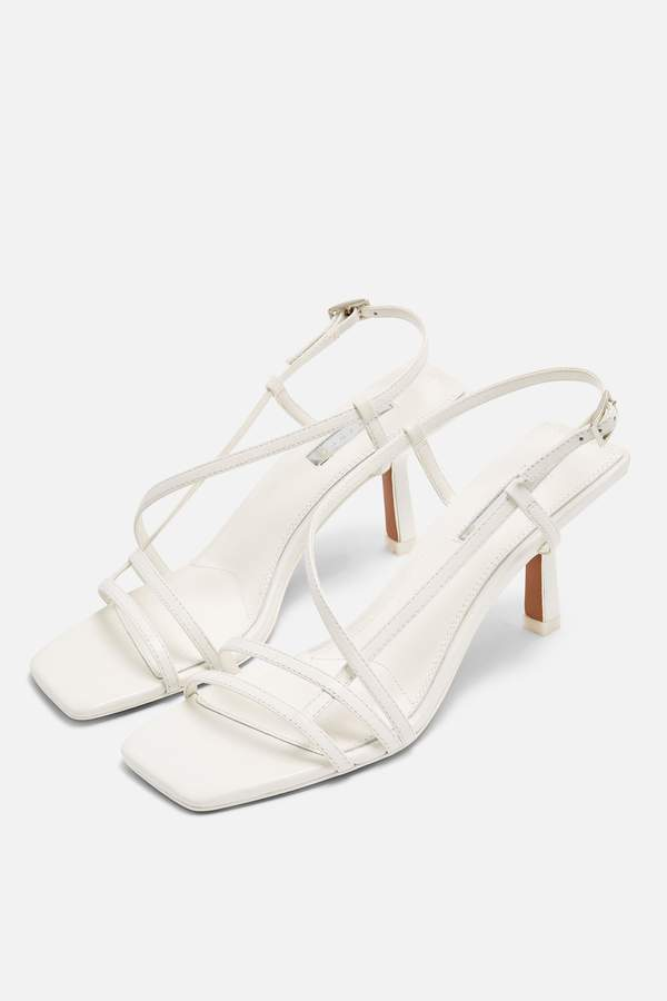 Topshop Womens Strippy White Heeled Sandals - White