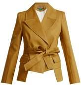 Duro Olowu - Tie Waist Cotton Denim Blazer - Womens - Dark Yellow