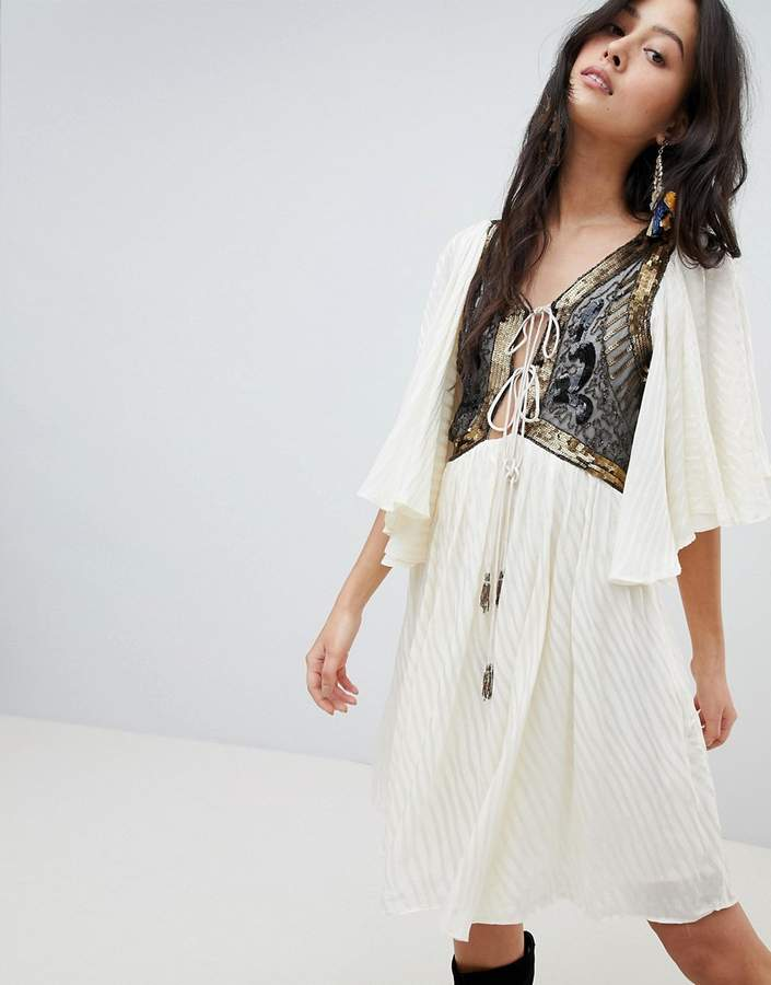 Free People Moonglow Embellished Mini Dress