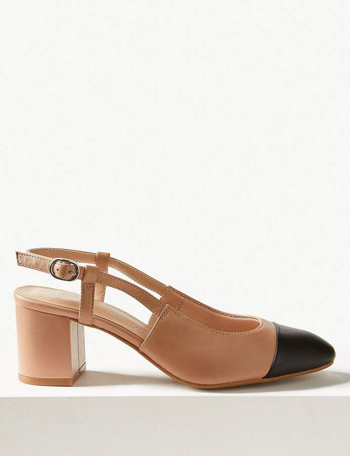 M&S CollectionMarks and Spencer Leather Block Heel Slingback Shoes