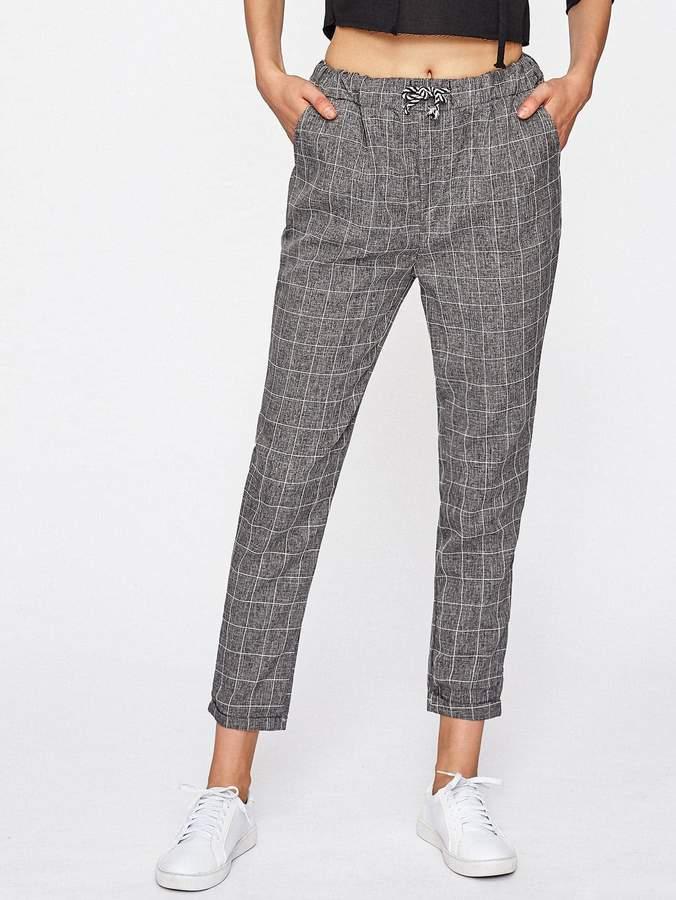 Shein Checked Drawstring Waist Pants