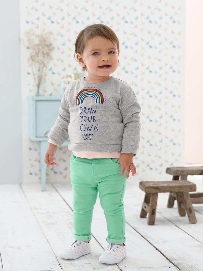 Vertbaudet Sweatshirt with Rainbow Motif for Baby Girls