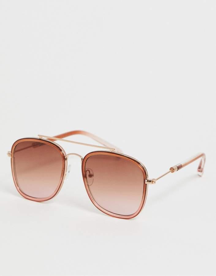 Skinnydip grad brown square frame aviator sunglasses