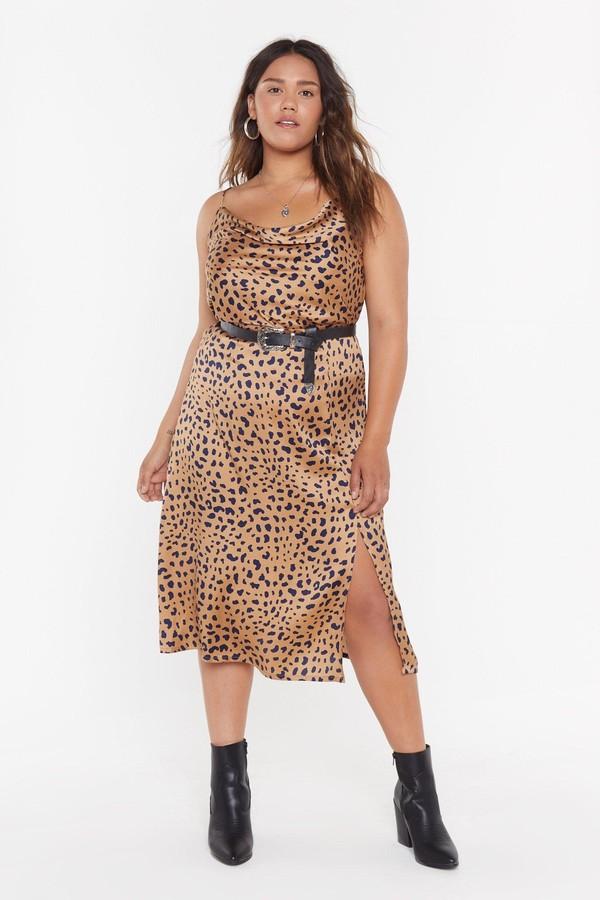 Nasty Gal Womens Gold Animal Bias Cut Co-Ord Skirt - Metallics - 22