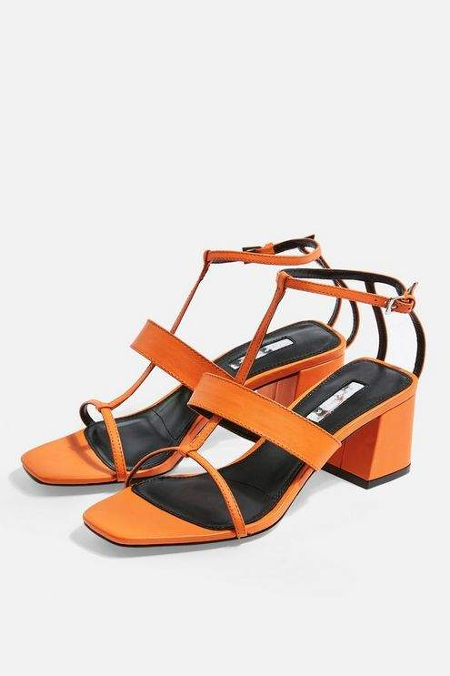 Topshop Womens Ribbon Leather T-Bar Sandals - Orange