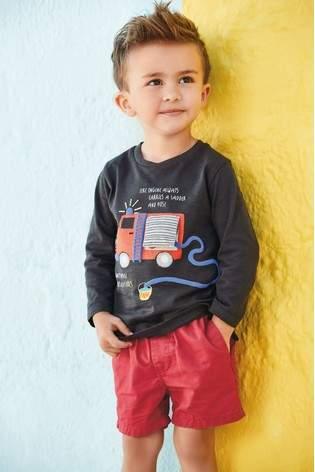 Boys Next Charcoal Fire Engine Long Sleeve T-Shirt (3mths-7yrs)
