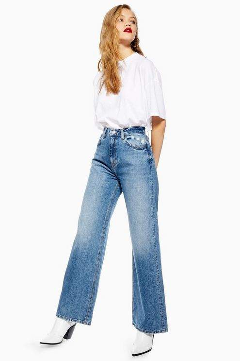 Womens Mid Stone Slim Wide Leg Jeans - Mid Stone