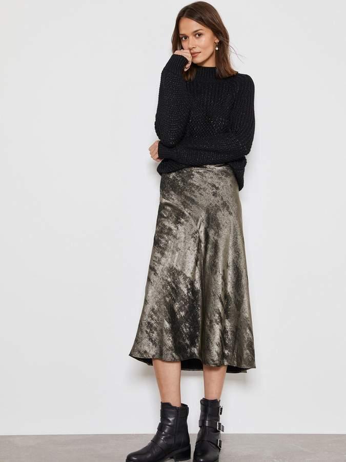 Mint Velvet Shimmer Slip Skirt - Pewter