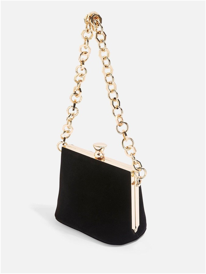 Margot Velvet Chain Bag - Black