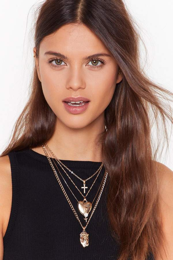 Womens Queen of Hearts Layered Necklace - Metallics - One Size