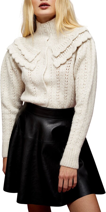 Topshop - ruffle collar cream cardigan