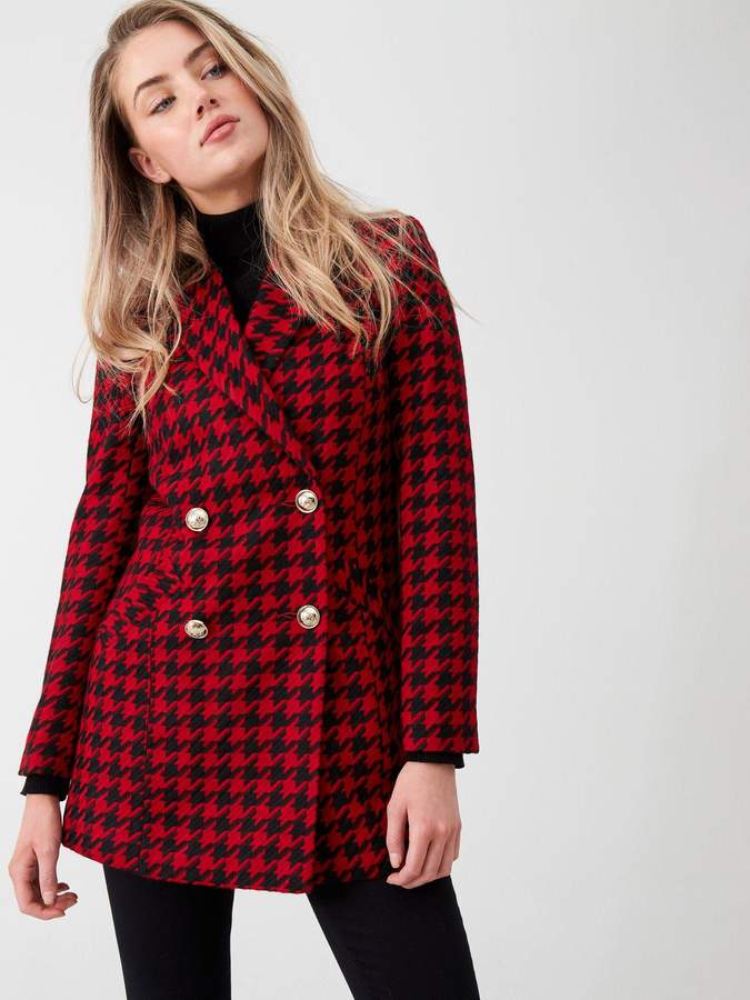 River Island Dogtooth Print Double Breasted Jacket- Red