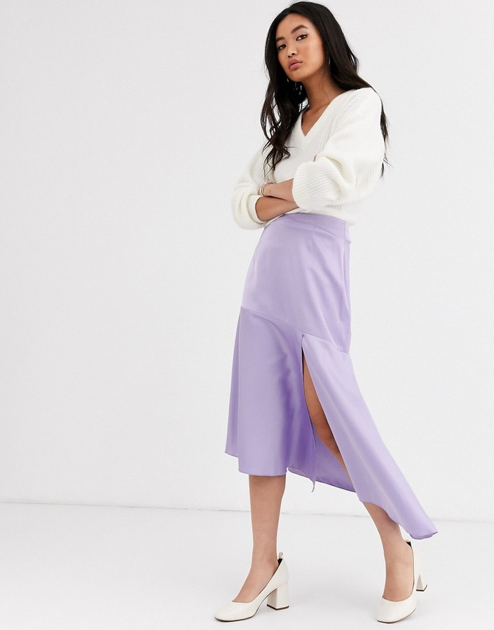 & Other Stories satin waterfall midi skirt in lilac